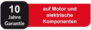10 Jahre Garantie auf Motor und elektrische Komponenten