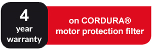 4 year warranty on CORDURA motor protection filter